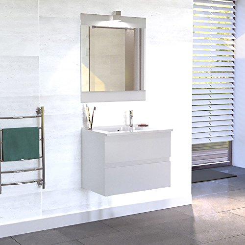 Meuble salle de bain simple vasque ROSALY 80 - Blanc brillant