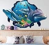 HALLOBO XXL Wandtattoo Wandaufkleber 3D Fenster Delphin Unterwasserwelt Delfine Marine Meer Wandbild Wohnzimmer Schlafzimmer Kinderzimmer Deko Versand aus Deutschland