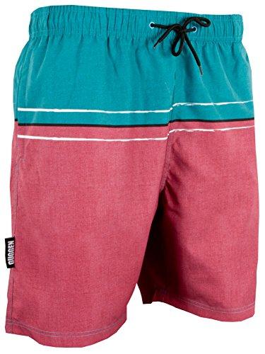 GUGGEN Mountain Herren Badeshorts Beachshorts Boardshorts Badehose Schwimmhose Männer mit Streifen *Print* Gruen Rot L