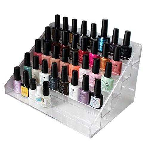 Présentoir transparent transparent acrylique de vernis à ongles par Kurtzy - support de stockage cosmétique d'organisateur de 5 rangées