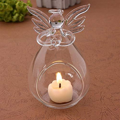 Hängeleuchten Pendelleuchten Kronleuchter Romantische Engels-Kristallkerzenhalter aus Glas Hang Teelicht Laterne Kerzen Brenner Vase DIY Hochzeit Dekoration Hänge&Pendelleuchten (Color : Clear)
