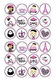 24Kuchen Topper 4cm auf Zuckerguss–ND2Paris Shabby Chic Frankreich French
