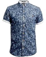 CrossHatch Men's Flowered Shortsleeved Shirt, Blue