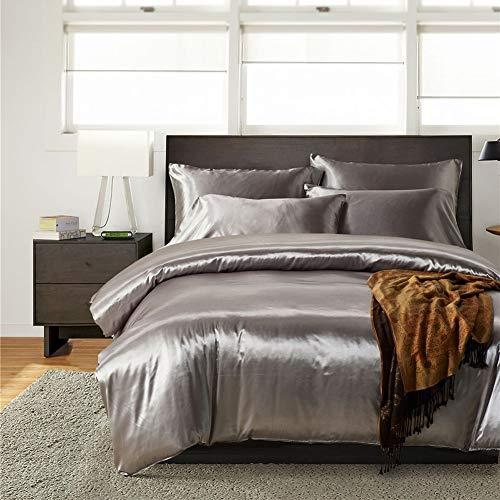 JWANS Bettbezug aus Satin-Seide-Bettwäsche-Set Modern Style-Bettdecke 3 Stück Quilt Sets mit Kissenbezügen Bedruckte Tagesdecke (Seiden-satin-bettwäsche König)
