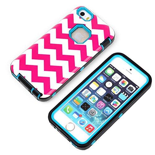 Coque iPhone 5C, Lantier Hot Pink Vague Image 3 en 1 antichoc hybride impact robuste Housse en caoutchouc Combo Heavy Duty de protection pour Apple iPhone 5C Violet Hot Pink Wave Picture Blue