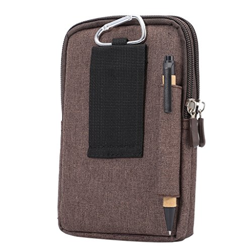 DFV mobile - Universal Multi-functional Vertical Stripes Pouch Bag Case Zipper Closing Carabiner for =>      APPLE IPHONE 5C > Brown (17 x 10.5 cm) Brown (17 x 10.5 cm)