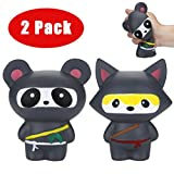 Luckhome Cartoon Ninja Panda&Ninja Fox Toys, 2Pcs Jumbo Squishiestoy Scented Slow Rising Squeeze Stress Reliever Toy
