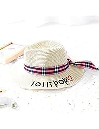 Fashion cap Sombrero Sombrero de Paja de Señora de Verano Carta Bordada  Plana Femenina Sombrero de afca7a28367
