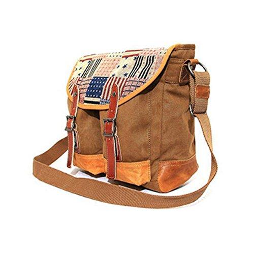 Paonies Canvas Tasche Unisex Damen Herren Tasche Schultasche Umhängetasche Messenger Bag für Freizeit Uni (Blau) Kaffee