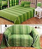 Homescapes waschbare Tagesdecke Sofaüberwurf XXL Überwurfdecke Morocco 255 x 360 cm in Streifen-Design aus 100% reiner Baumwolle in grün