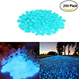 Smooce Pietre Luminosi, Decorative Stones Bright Pebbles, 200pcs Pietre decorative da giardino per passerelle All'aperto Decor Aquarium Acquario Sentiero Prato Cortile