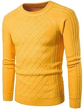 HY-Sweater Punto Mode Trend Diamond de Moldeada Hombres Lässig redondean Recorte, Amarillo, Medium