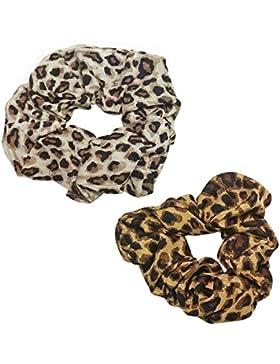 Mujer/Niña Animal Print pelo Scrunchies–Pack de 2