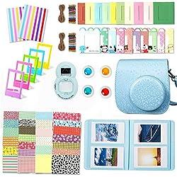 Leebotree Accessoires Compatible avec Appareil Photo Instax Mini 9, Mini 8/8+, Le Package Comprend étui,Album, lentille, filtres, Cadres et Autres (Bleu Magique)