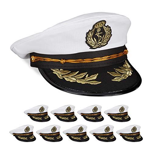 Schwarz Kostüm Kapitän - Relaxdays 10 x Kapitänsmütze, Damen & Herren, Einheitsgröße, Kopfbedeckung Fasching & Karneval, Offiziersmütze, weiß/schwarz