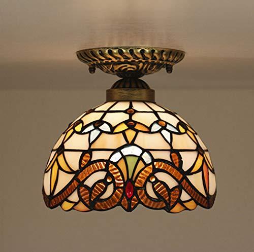 Deckenleuchte Tiffany Flurleuchte, Deckenleuchte runder Glasschirm, klassische Deckenleuchte im Landhausstil, E27-Sockel mit 1 Flamme 40W, Ø 20 cm