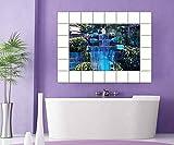 Wasserfall Fliesenaufkleber Wasser Fliesenbild Fliesen Kachel Fliesenbilder Aufkleber Bad Küche 8A522, Bildformat:75cmx50cm;Fliesengröße:Fliese 15x15cm