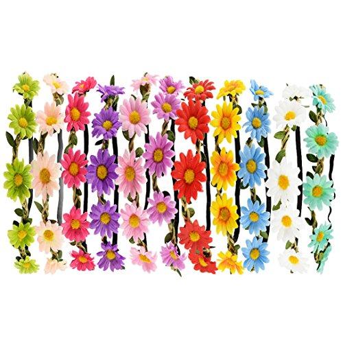 – Tomkity 10 Pezzi Multicolore Fasce Del Fiore con Il Nastro Elastico Regolabile lista dei prezzi