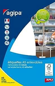 AGIPA Etui A5 ( 6F ) de 306 étiquettes multi-usage Enlevable Bijoux Haltère 45x8 mm Blanc
