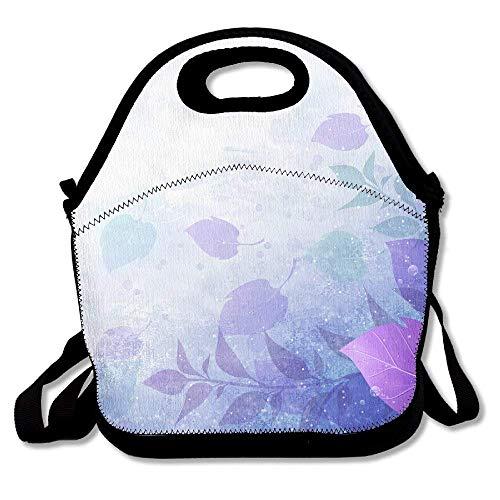 Dozili Lunchtasche mit Lichteffekt und Blättern, für den Winter, groß und dick, aus Neopren, isoliert, für Damen, Teenager, Mädchen, Kinder, Erwachsene -