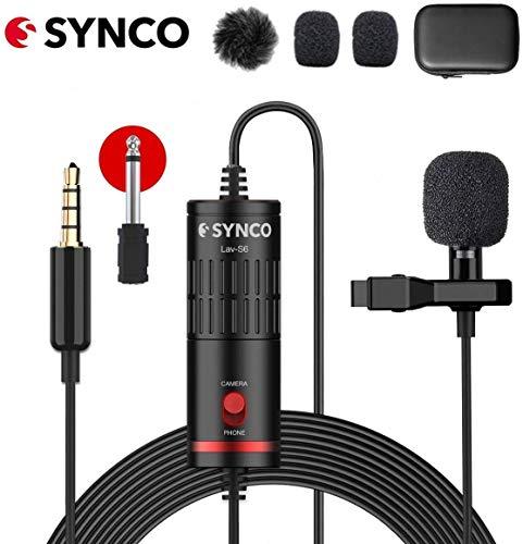 SYNCO Lav S6 Microfono-Lavalier-Microfono-a-Clip Condensatore Omnidirezionale 6 Metri / 19,7 Piedi, Compatibile per Fotocamere, Cellulari, Videocamere, Registratori Audio, Mixer, Comput