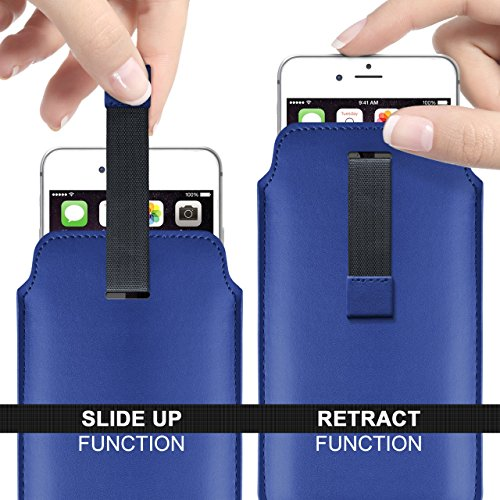 iPhone 5C Hülle Türkis Sleeve [OneFlow Slide Cover] Ultra-Slim Schutzhülle Dünn Handyhülle für iPhone 5C Case Full Body Handytasche Kunst-Leder Tasche ROYAL-BLUE