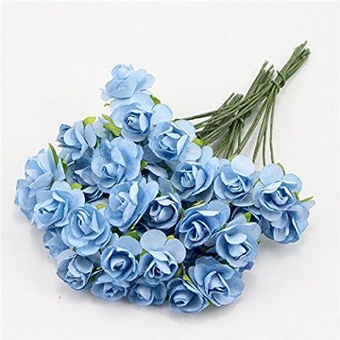 Papier mûrier Rose Bouquet de fleur de mariage 027021004 Tige fil bleu ciel,60Pcs