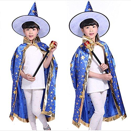 Imagen de tinksky 2 piezas de disfraces de halloween bruja bruja capa con sombrero para los niños de la decoración del partido de los niños azul  alternativa