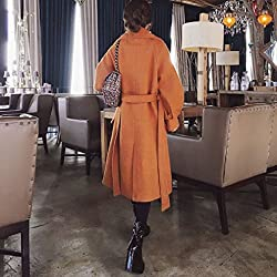 MO It Jacket Female Autumn and Winter Fashion Lantern Sleeves Knee Long Section Thickening Tie Mei Coat by MO