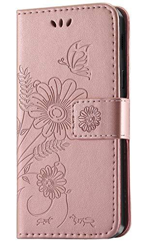 Galaxy-leder Etui (kazineer Galaxy A6 2018 Hülle, Handyhülle Samsung Galaxy A6 2018 Leder Tasche Schutzhülle Brieftasche Etui für Samsung A6 2018 Case (Pink-Gold))