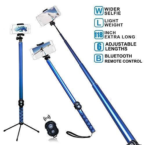 Extra largo Bluetooth selfie stick, Extensible 3m Monopod Soporte para teléfono integrado Mando a distancia disparador inalámbrico para fotografía, de viaje compatible con iPhone, Huawei, Samsung, HTC, color azul