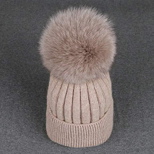 DWXWMZ Flache Schirmmütze Real Fox Fur Mink 15cm Skullies Beanies Hats for Women Children Winter Solid Wool Warm Skullies Beanies Hats -