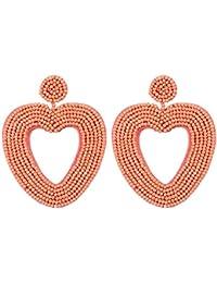 Nuevos Pendientes Redondo Cuadrado en Forma de Corazón la Vendimia Pendientes Color Exquisito de Temperamento Simple Hecho a Mano Largos Geométricos Pendientes (Naranja)