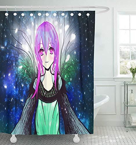 Luancrop Duschvorhang Wasserdicht Rosa Schöne Anime Magier Mädchen Rosa Schönheit Cartoon Charakter Kostüm Nette Wohnkultur Polyester Verstellbarer - Cartoon Charakter Einfache Kostüm