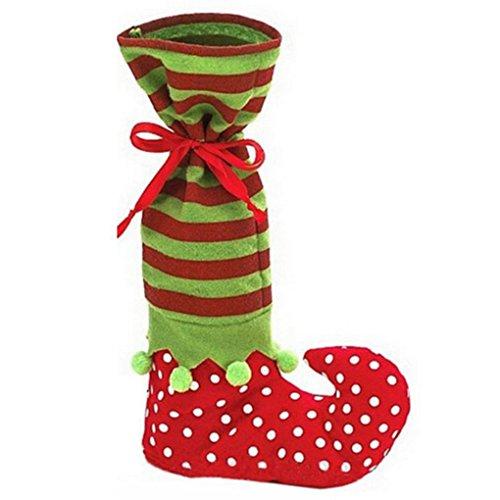 Bomcomi xmas rosso e verde calze elf candy style long socks calza della befana da regalo