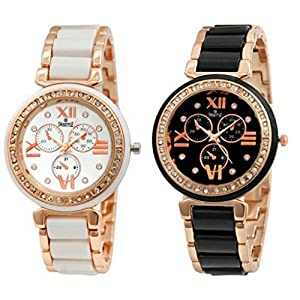 Swisstyle Combo of 2 Analogue White Dial Womens Watches-Ss-703W-703B