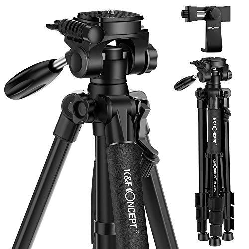 K&F Concept Trépied Appareil Photo Portable, CT048 Trepied Léger en Aluminium avec Clip de Téléphone 4 Sections Charge: 4kg pour DSLR, Caméra, Canon, Nikon