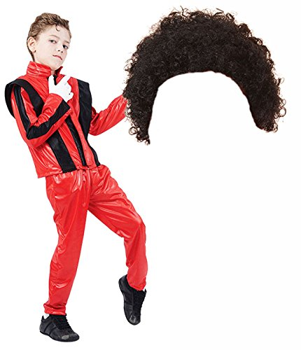 (Boys Michael Jackson 80s Fancy Dress Costume with Afro Wig (10-12 years))