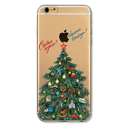 iphone SE Hülle,iphone 5S Schutzhülle Defender Bumper,Ekakashop Ultra dünn Slim Bunt Christmas Weihnachten Durchsichtig Transparent Muster Weiche Silikon TPU Gel Crystal Case Defender Back Cover Prote Weihnachten Baum