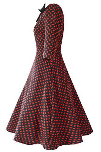 Babyonline dress Damen 50er 60er 1/2 Arm Retro Vintage Swing Rockabilly  kleid Polka Dots knielang S2XL Weinrot