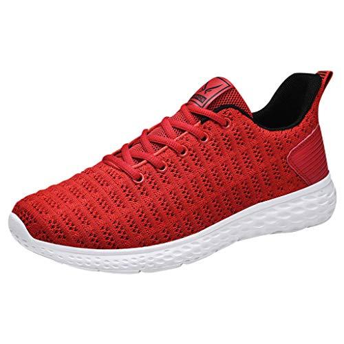 CUTUDE Damen Herren Paar Laufschuhe Turnschuhe Bequem Mesh Tuch Atmungsaktive Outdoor Sneakers Schuhe Trend Hohl Freizeitschuhe (Rot, 48 EU)