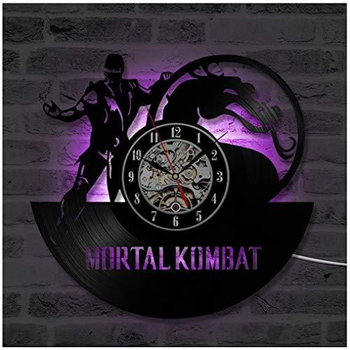 ZhangXF Mortal Kombat LED Leuchtende Schallplatten Wanduhr, 12