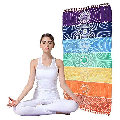 Colorful Rainbow Tapisserie Streifen Yoga Handtücher Chakra Wand Chakra mit Quasten bunt (Beach Handtuch Cabana)