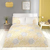 Floral Sunflower Stripe Cotton Blend Yellow King Size (plain White Fitted Sheet - 152 X 200cm + 25) Plain White Housewife Pillowcases 6 Piece Bedding Set