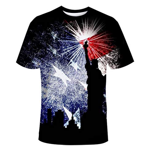 Cooljun Fashion T-Shirt Strand Yoga Top Fashion Lovers Neue 3D gedruckte lässige Sport Independence Day T-Shirt Kurzarm Top Bluse
