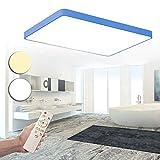 SAILUN 48W Dimmbar LED Ultra-dünne 6cm Macarons Bunte Einfache Rechteck Deckenlampe Effektlampe für kinderzimmerlampe Schlafzimmer Küche Büro Wohnzimmer (Blau)
