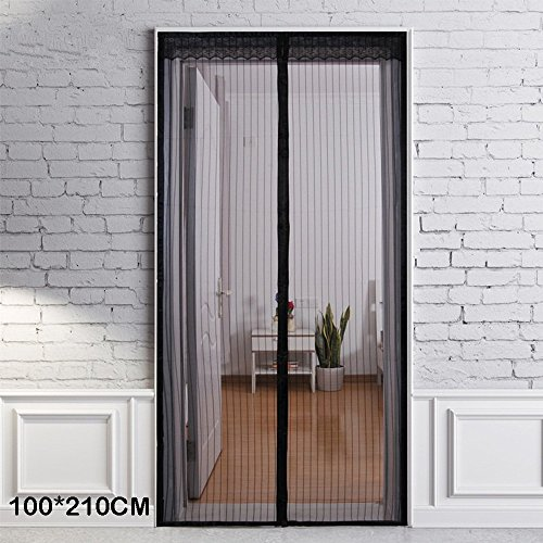 Mosquitera magnética para puerta, cortina antimosquitos, mosquitos, mosquitos, malla, Red, Black,210x100cm, 210x100cm