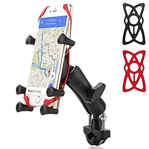 Xroam Mount Holder for Bike / Bicycle / Motorcycle with Handlebar Rail Mount and X-Grip Phone Holder, Phone mount for GPS, Fits any Smart