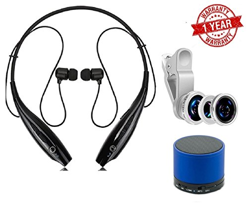 MacBerry SAMSUNG Galaxy J7 -6 Compatible Portable Wireless Stereo Bluetooth Sports Headphones with Mic & 3 in 1 Camera lens & Bluetooth Speaker