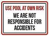 Aersing Camera da letto porta segno usare piscina a proprio rischio non siamo responsabili per incidenti spa attenzione placca di metallo porta decorativi protezione dai raggi UV e impermeabile